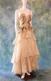 1940s Designer Beaded Silk Gown