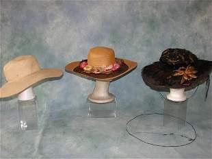 3 Edwardian Hats, Silk Flower