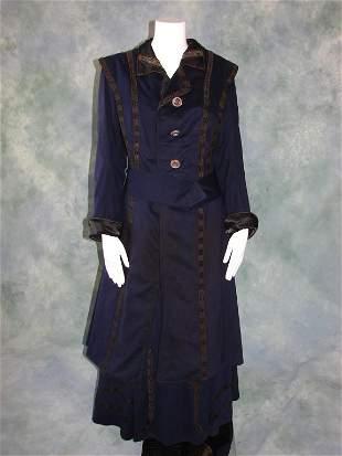 Edwardian Walking Suit in Navy Blue Wool