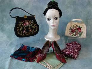 Lot Of Ladies Purses, Shoes, & Scarves