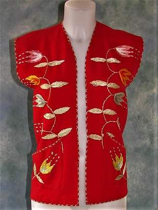 Ladies Sleeveless Wool Vest with Embroidery