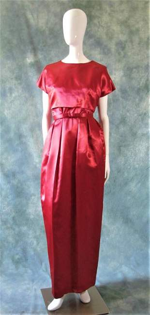 Red Satin 1960's Evening Gown Ensemble