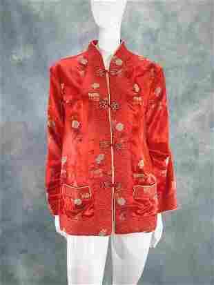 Vintage Red Silk Embroidered Jacket