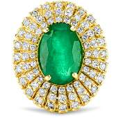 4.83cttw Colombian Emerald with 1.48cttw Diamonds 14KT