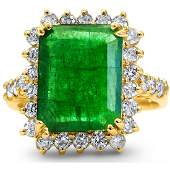 5.91cttw Emerald with 1.23cttw Diamonds 14KT Yellow