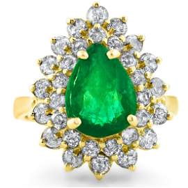 2.95cttw Emerald with 0.85cttw Diamonds 14KT Yellow