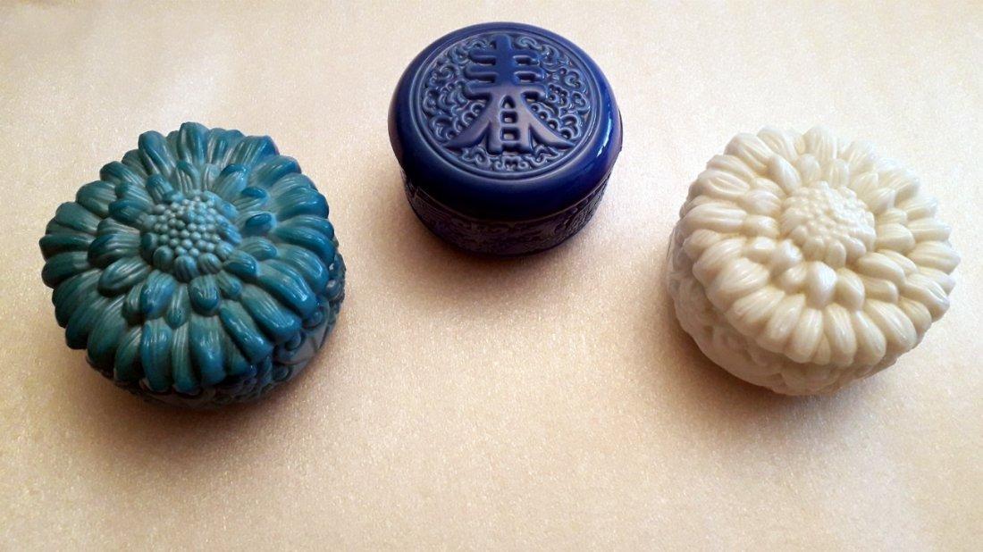 set of 3 Bohemian Malachite vanity boxes