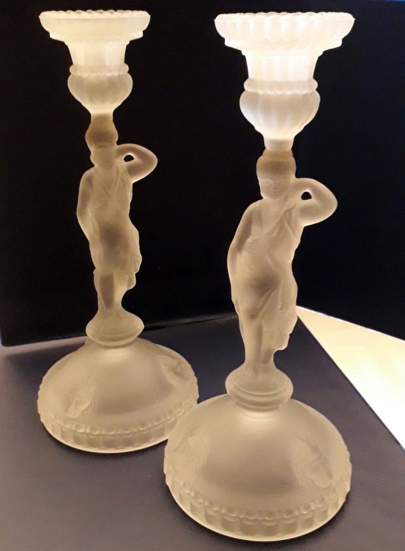 Two frosted glass candle holders