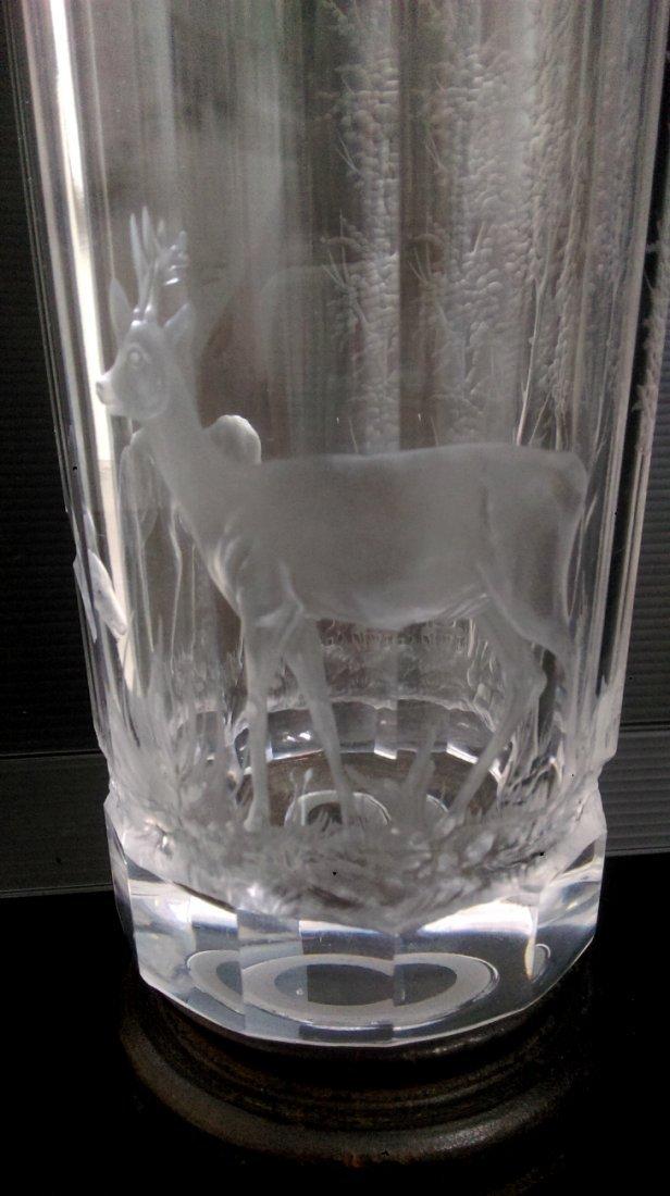 19th C Bohemian vase with deer motif - 2