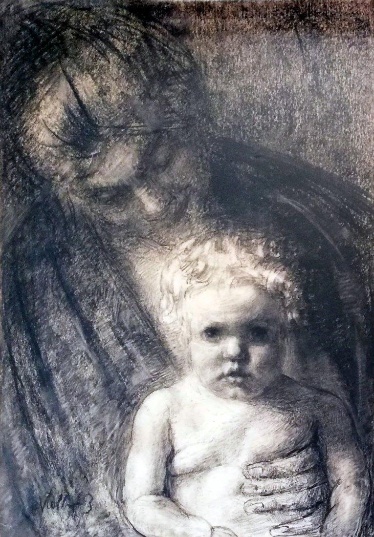Kathe KOLLWITZ 1867-1945 - Charcoal drawing