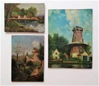 European school; grouping of 3 paintings