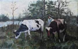 Dutch school Oil canvas, Cows in landscape