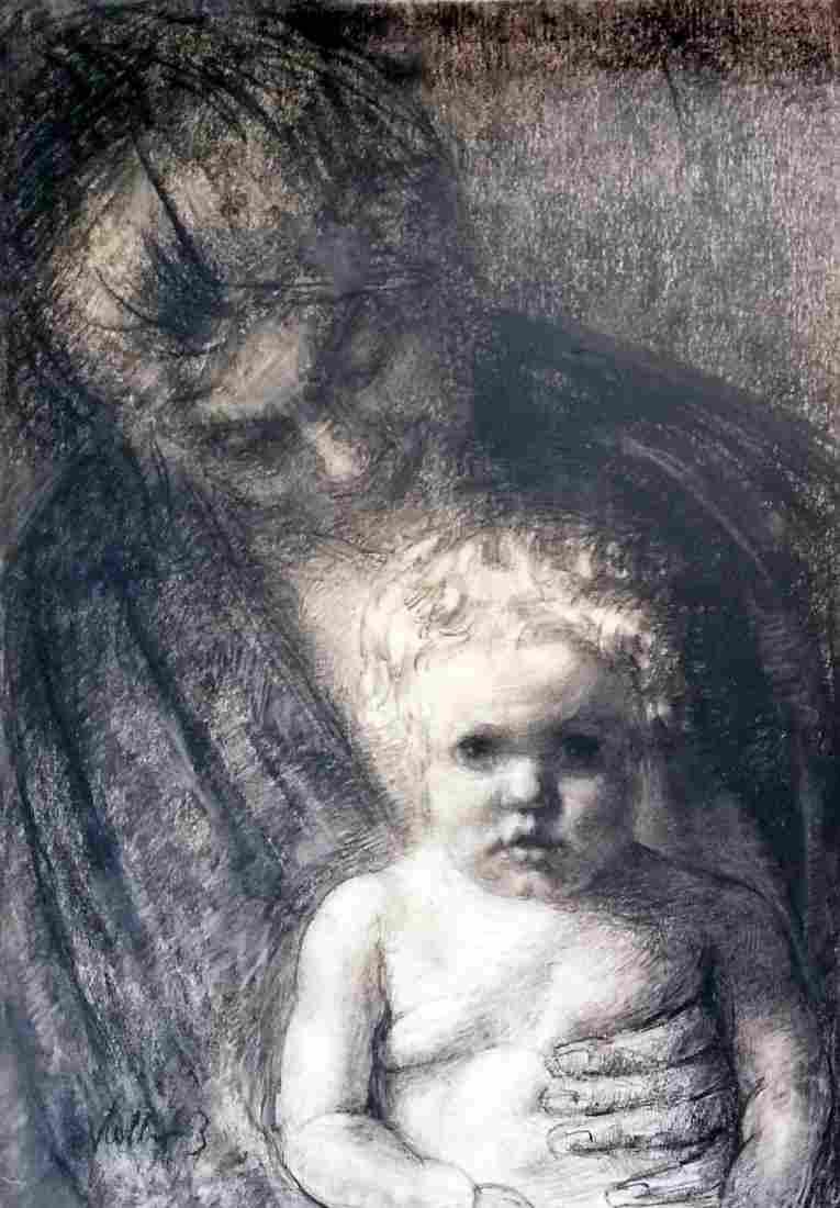 Kathe KOLLWITZ 1867-1945 Drawing, Mother and child