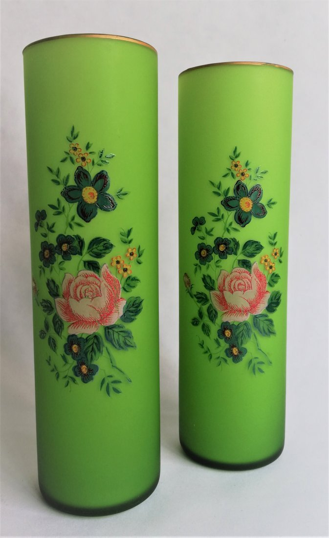 Pair of Bohemian 1890 Harachov vases