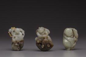 Three jade figural carvings