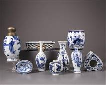 A group of nine Chinese blue and white vases