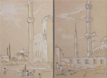 Two drawings. Open place with minaret and Minarets by