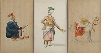 A lot of three Persian school watercolours