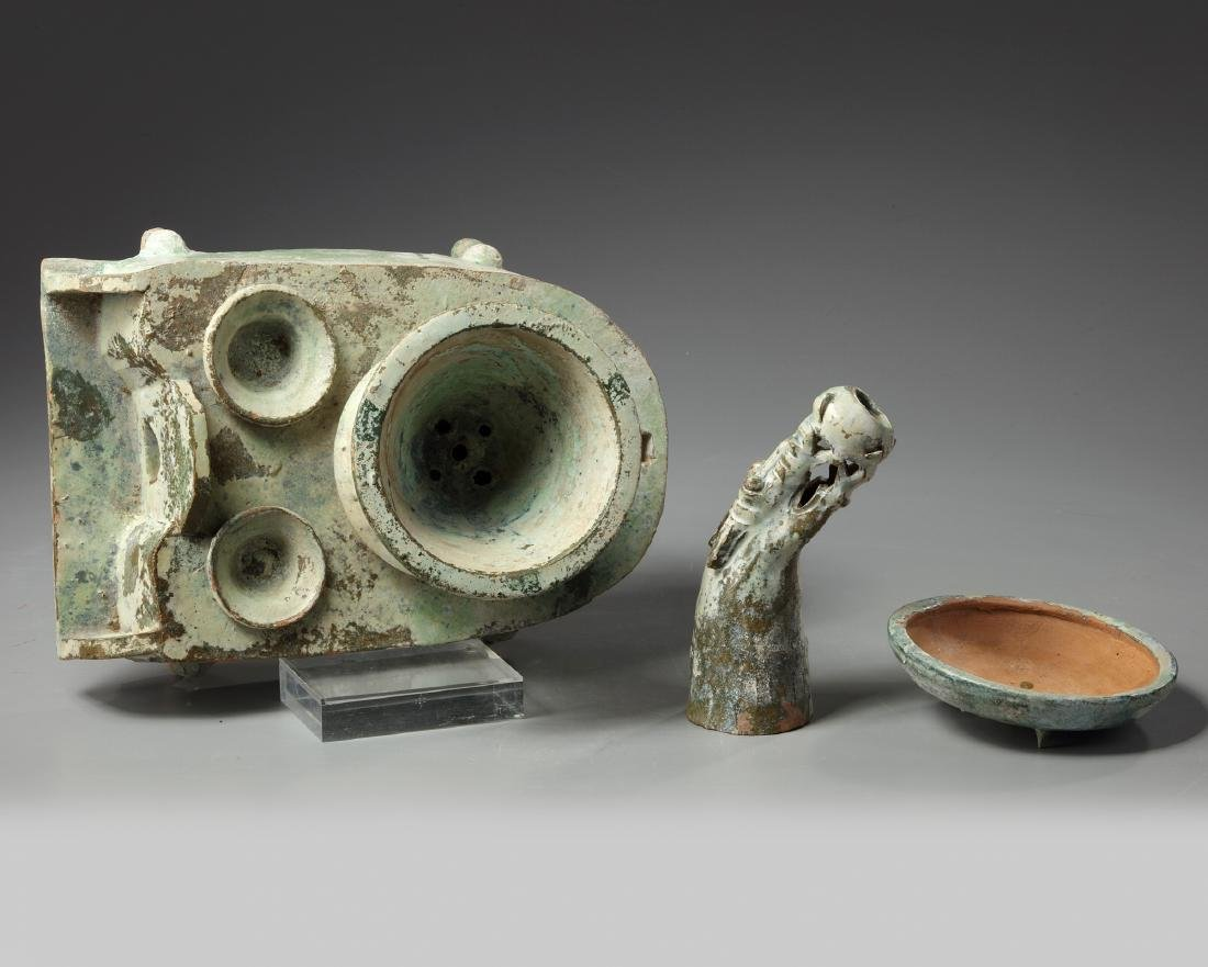 A Chinese green-glazed pottery stove with a dragon - 5