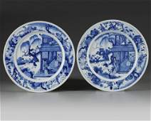 A pair of Chinese blue and white 'figural' dishes