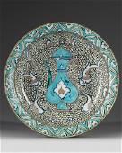 An Ottoman Iznik pottery dish