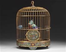 A CHINESE CLOISONNÉ ENAMEL BIRD CAGE