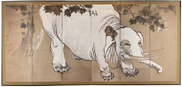 A SIX PANEL JAPANESE BYOBU-SCREEN WITH A PAINTING OF A