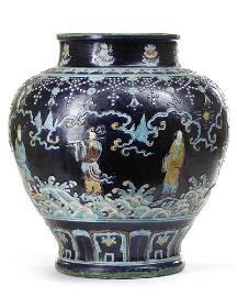 A CHINESE FAHUA 'EIGHT IMMORTALS' JAR, CHINA, MING