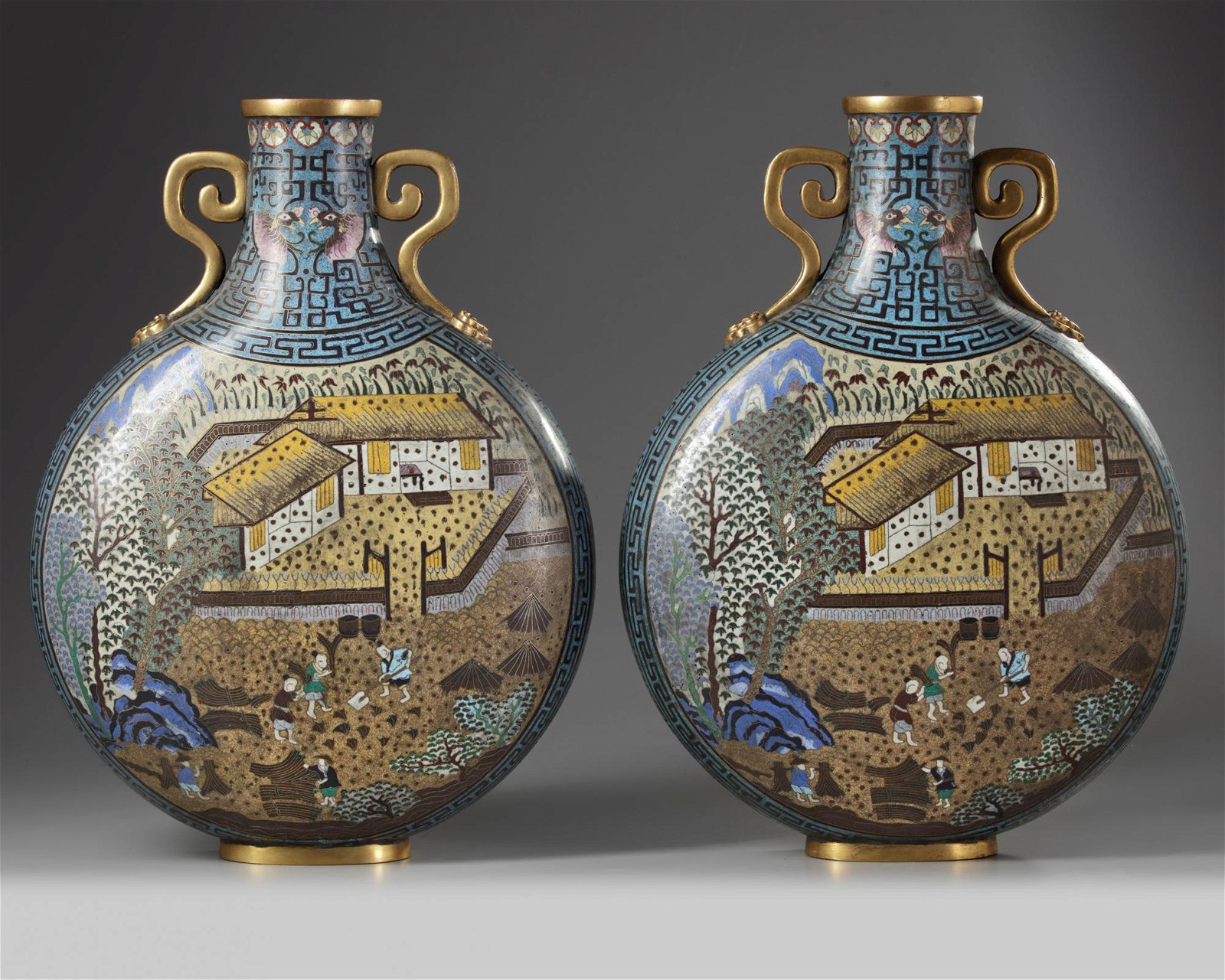 A PAIR OF CHINESE CLOISONNÉ ENAMEL MOON-FLASKS,