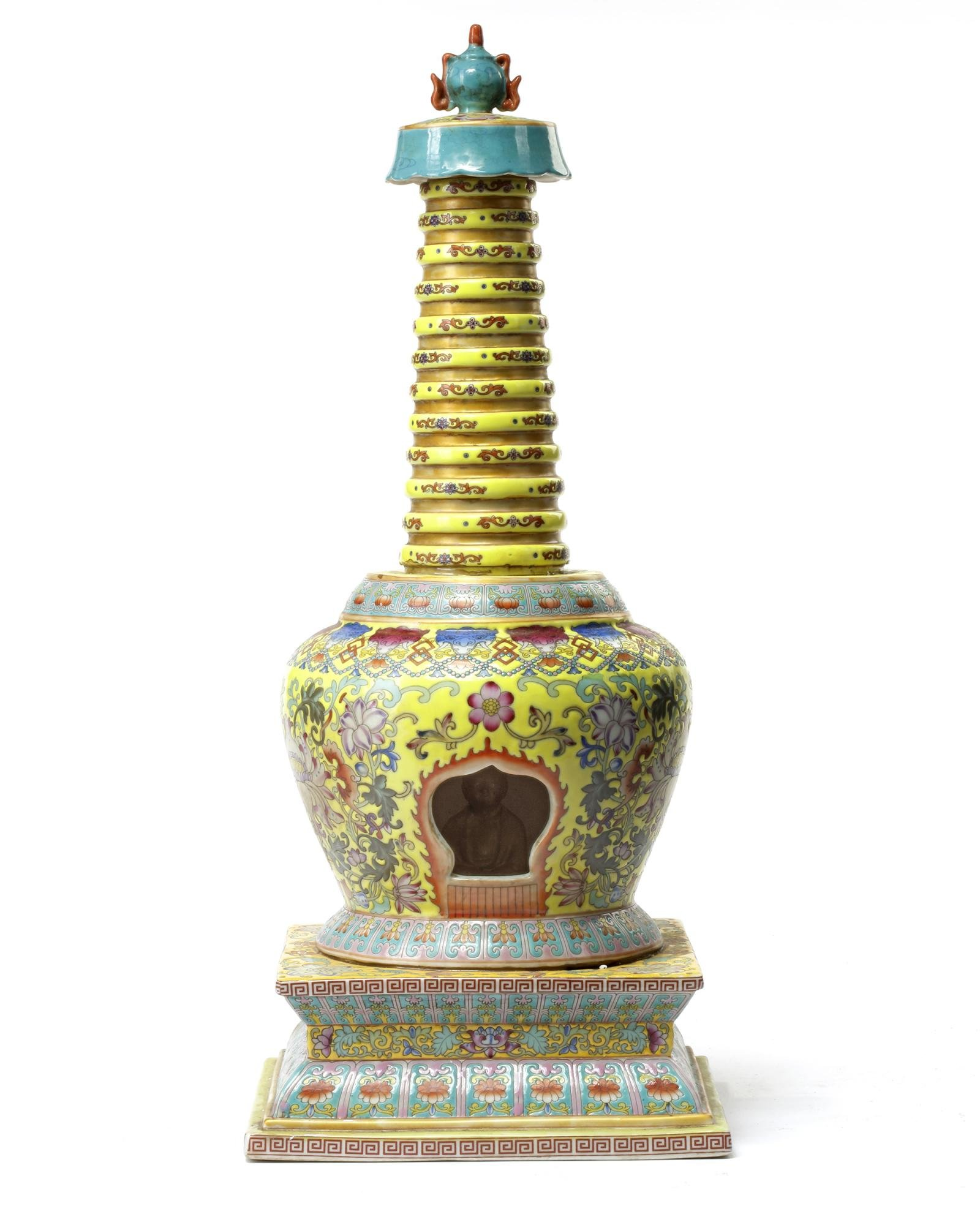 A CHINESE FAMILLE ROSE STUPA, CHINA, QING DYNASTY