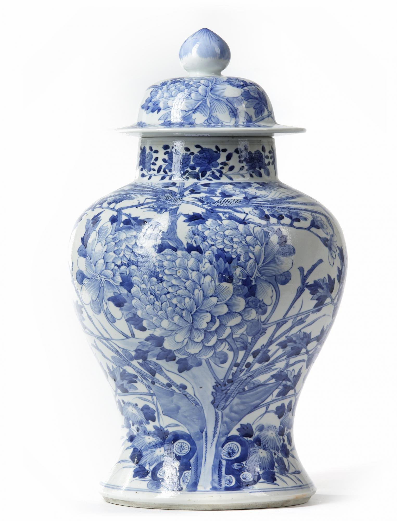 A CHINESE BLUE AND WHITE JAR WITH COVER