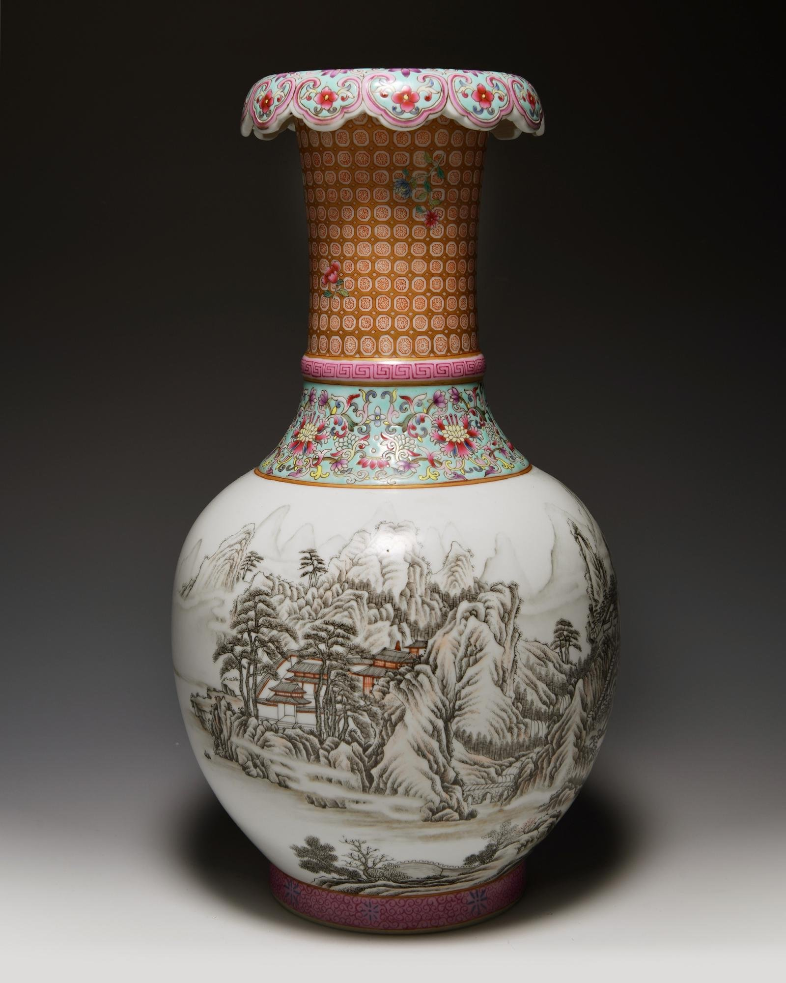 A CHINESE FAMILLE ROSE WINTER SCENE VASE, CHINA