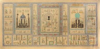 AN ISLAMIC PAINTING ON PAPER DEPICTING DIFFERENT