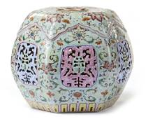 A CELADON GROUND FAMILLE ROSE PORCELAIN PILLOW, LATE