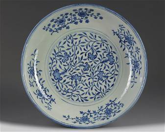 A LARGE CHINESE BLUE AND WHITE 'THREE FRIENDS OF