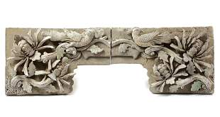 A PAIR OF CHINESE CARVED BRICKS WITH BIRDS AND FLOWERS