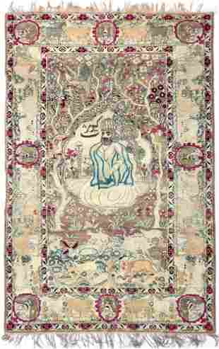 A PERSIAN KIRMAN RAWER PICTURAL RUG, 19TH CENTURY