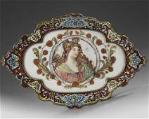 A FRENCH CHAMPLEV ENAMELED GILT BRONZE PLATE 19TH