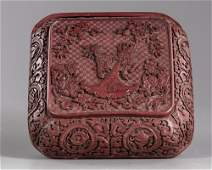 A CHINESE CINNABAR LACQUER SQUARE BOX, QING DYNASTY