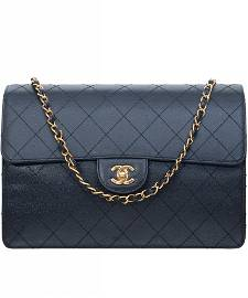 1997-1999 Chanel Black Caviar Leather Jumbo Single Flap