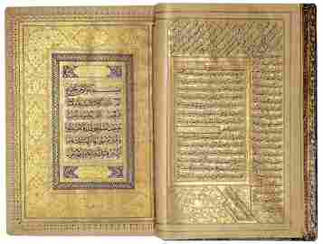 AN EXCEPTIONAL ILLUMINATED SAFAVID QURAN (POSSIBLY