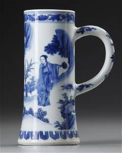 A BLUE AND WHITE TANKARD, CHONGZHEN PERIOD, CIRCA 1643