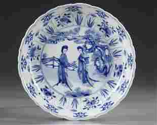 A CHINESE BLUE AND WHITE PLATE, KANGXI PERIOD (1662 -
