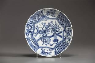 A CHINESE BLUE AND WHITE KO-SOMETSTUKE SAUCER-DISHES,