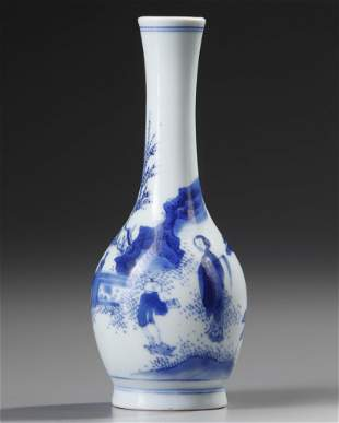 A CHINESE BLUE AND WHITE FIGURAL VASE, CHONGZHEN PERIOD