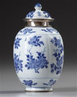 A CHINESE BLUE AND WHITE SILVER MOUNTED LOBBED JAR,