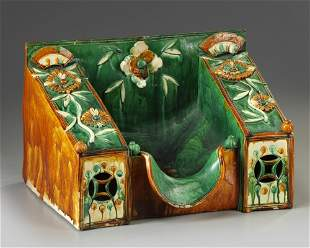 A LARGE CHINESE SANCAI GLAZED PILLOW, MING DYNASTY
