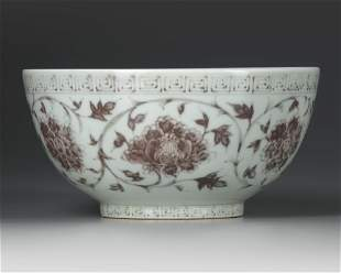 A CHINESE COPPER-RED DECORATED BOWL, MING DYNASTY