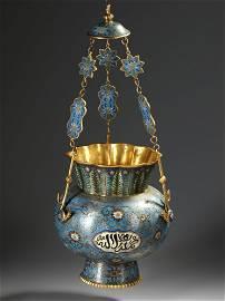 A MOSQUE LAMP, BRONZE WITH CLOISONNÉ ENAMEL