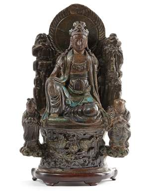 A CHINESE BRONZE STATUE, MING DYNASTY (1368-1644)